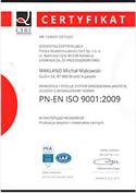 Certyfikat PNE-EN ISO 9001:2009